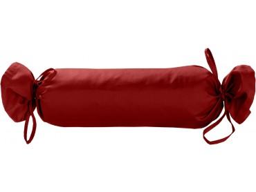 Mako Satin / Baumwollsatin Nackenrollen Bezug uni / einfarbig rot 15x40 cm mit Bändern