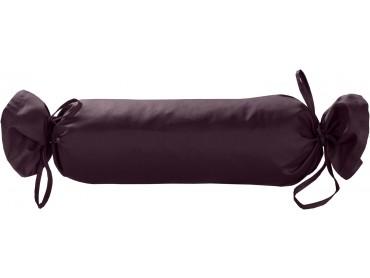 Mako Satin / Baumwollsatin Nackenrollen Bezug uni / einfarbig brombeer 15x40 cm mit Bändern