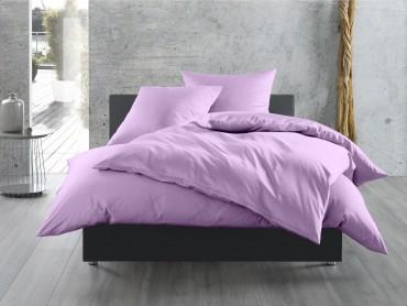 Bettwaesche-mit-Stil Mako-Satin / Baumwollsatin Bettwäsche uni / einfarbig flieder rosa