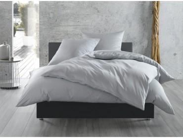Bettwaesche-mit-Stil Mako-Satin / Baumwollsatin Bettwäsche uni / einfarbig grau