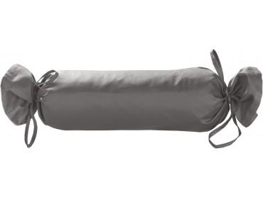 Mako Satin / Baumwollsatin Nackenrollen Bezug uni / einfarbig dunkelgrau 15x40 cm mit Bändern