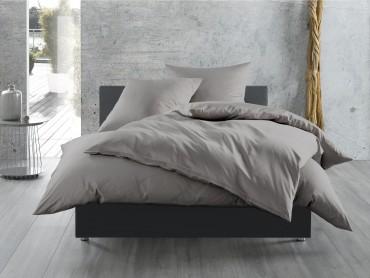 Bettwaesche-mit-Stil Mako-Satin / Baumwollsatin Bettwäsche uni / einfarbig dunkelgrau