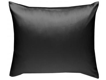 Mako Satin Kissenbezug uni schwarz - viele Größen