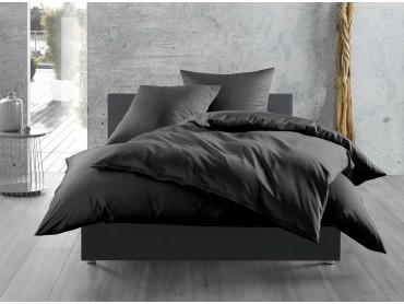 Bettwaesche-mit-Stil Mako-Satin / Baumwollsatin Bettwäsche uni / einfarbig schwarz