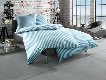 """Bettwaesche-mit-Stil Mako Batist Landhaus Bettwäsche """"Oslo"""" Streifen petrol blau"""