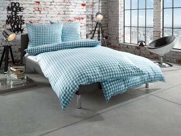 """Bettwaesche-mit-Stil Mako Batist Landhaus Bettwäsche """"Oslo"""" Karo petrol blau"""