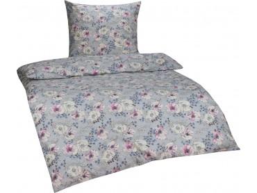 Bettwaesche-mit-Stil Retro / Vintage Feinflanell Bettwäsche Blumen rosa/blau