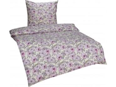 Bettwaesche-mit-Stil Retro / Vintage Feinflanell Bettwäsche Blumen weiß/rosa