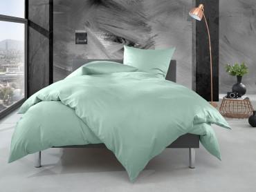 Bettwaesche-mit-Stil Mako Perkal Bettwäsche uni / einfarbig pastell grün