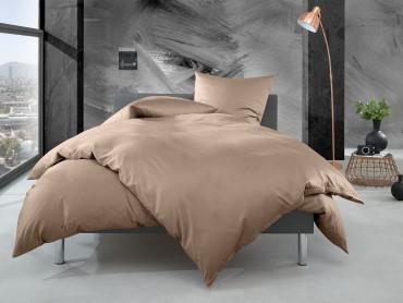 Bettwaesche-mit-Stil Mako Perkal Bettwäsche uni / einfarbig hellbraun