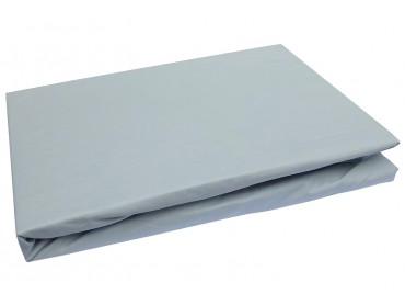 Bettwaesche-mit-Stil Mako Perkal Spannbettlaken Eis Grau