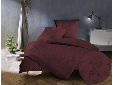 Mako Satin Jacquard Damast Bettwäsche Zoé Rose – bordeaux rot