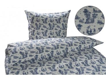 Mako Interlock Jersey Bettwäsche Toile de Jouy (Mädchen) blau / weiß Garnitur 135x200 + 80x80