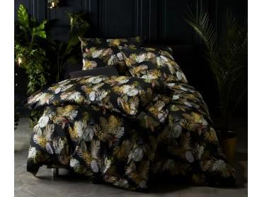 Moderne Mako Satin Bettwäsche Blätter & Palmen anthrazit grün