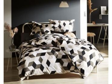 Moderne Mako Satin Bettwäsche geometrisch schwarz taupe