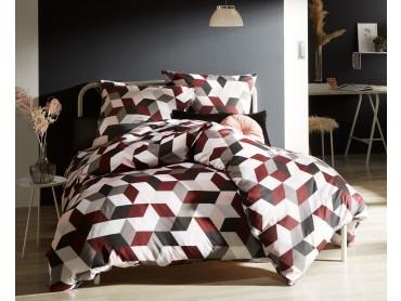Moderne Mako Satin Bettwäsche geometrisch rot grau