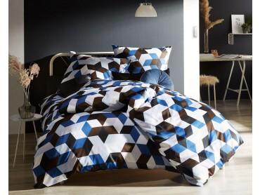 Moderne Mako Satin Bettwäsche geometrisch blau braun