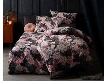 Moderne Mako Satin Blumen Bettwäsche Dahlie anthrazit rosé