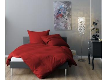 Lorena Mako-Satin Streifenbettwäsche Venedig rot