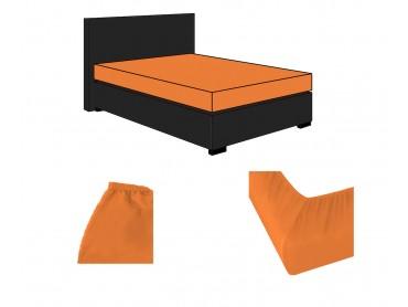 Lorena Mako-Satin uni einfarbige Spannbettlaken Classic mandarin-orange