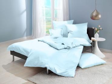 Lorena Mako-Satin uni einfarbige Bettwäsche Classic hellblau