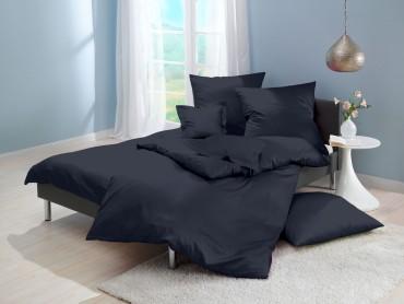 Lorena Mako-Satin uni einfarbige Bettwäsche Classic midnight-blue