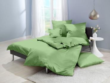 Lorena Mako-Satin uni einfarbige Bettwäsche Classic pistazie-grün