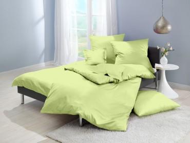 Lorena Mako-Satin uni einfarbige Bettwäsche Classic lind-hellgrün