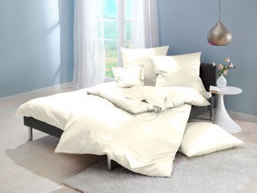 Lorena Mako-Satin einfarbige Bettwäsche Classic natur