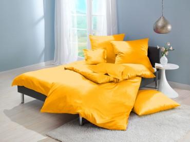 Lorena Mako-Satin uni einfarbige Bettwäsche Classic mais-gelb