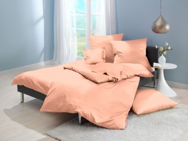 Lorena Mako-Satin uni einfarbige Bettwäsche Classic apricot