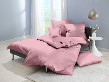 Lorena Mako-Satin uni einfarbige Bettwäsche Classic woodrose-rosa