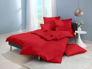Lorena Mako-Satin uni einfarbige Bettwäsche Classic rot