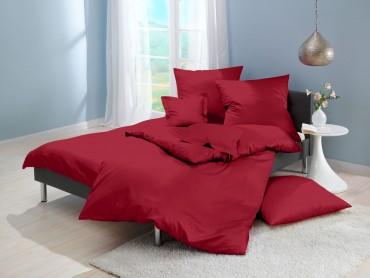 Lorena Mako-Satin einfarbige Bettwäsche Classic burgund-rot