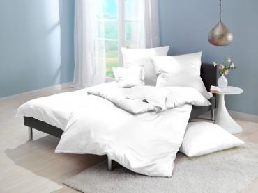 Lorena Mako-Satin einfarbige Bettwäsche Classic weiß