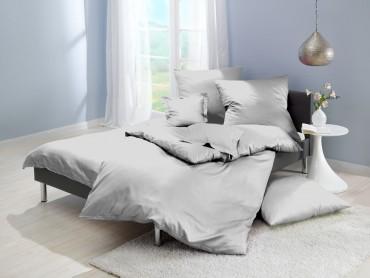 Lorena Mako-Satin einfarbige Bettwäsche Classic grau