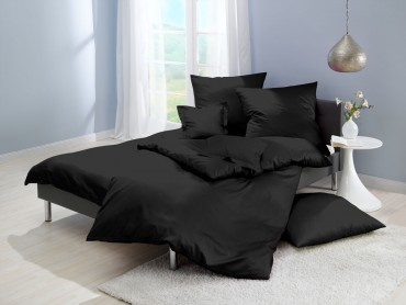 Lorena Mako-Satin einfarbige Bettwäsche Classic schwarz
