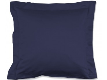 Lorena Mako-Satin einfarbiges Kissen mit Stehsaum Classic marineblau