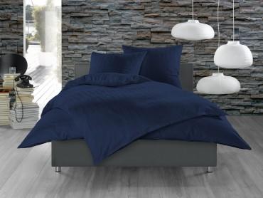 Mako Satin Damast Bettwäsche 155x200 cm Waves Dunkel Blau