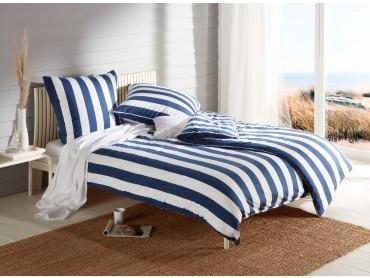 Mako Interlock Jersey Bettwäsche Streifen royal blau / weiß Garnitur 135x200 + 80x80