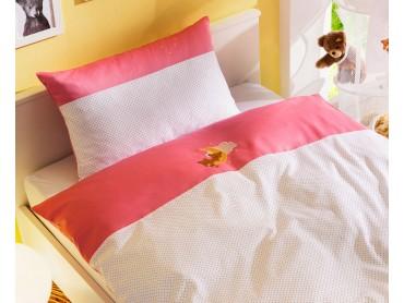 Mako-Satin Kinder Bettwäsche Mond-Bär 100x135 + 40x60 cm Rosa von Bettwaesche-mit-Stil