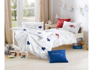 Lorena Mako-Satin Kinder-Bettwäsche Dinosaurier Rot oder Blau