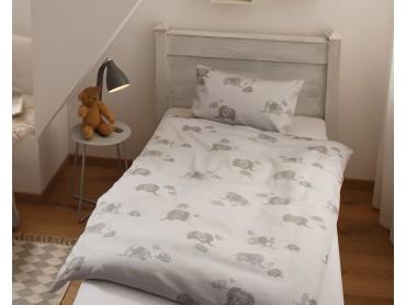 Mako Satin Kinder Bettwäsche Elefanten grau von Bettwaesche-mit-Stil