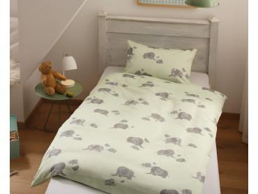 Mako Satin Kinder Bettwäsche Elefanten grün von Bettwaesche-mit-Stil