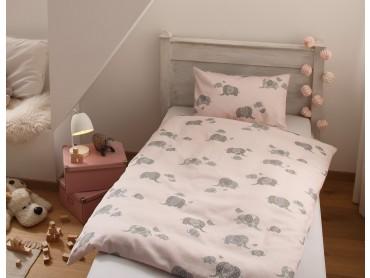 Mako Satin Mädchen Bettwäsche Elefanten rosa von Bettwaesche-mit-Stil