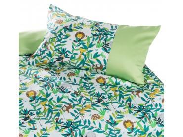 Mako Satin Kinder Bettwäsche Dschungel grün von Bettwaesche-mit-Stil