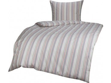 Bettwaesche-mit-Stil Mako Perkal/Batist Streifen Bettwäsche Multicolor Blau/Rot Garnitur 135x200 + 80x80