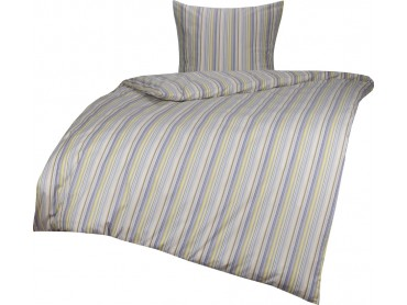 Bettwaesche-mit-Stil Mako Perkal/Batist Streifen Bettwäsche Multicolor Blau/Braun Garnitur 135x200 + 80x80