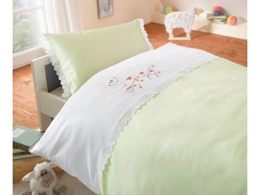 Lorena Mako-Satin Kinder-Bettwäsche Schäfchen Grün mit Stickerei