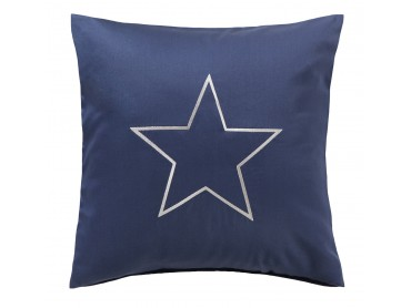 Bestickter Mako-Satin Kissenbezug maritim dunkelblau mit Stern